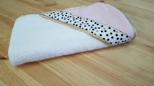cape de bain chat bébé fille rose noir doré blanc pois - puériculture bébé fille