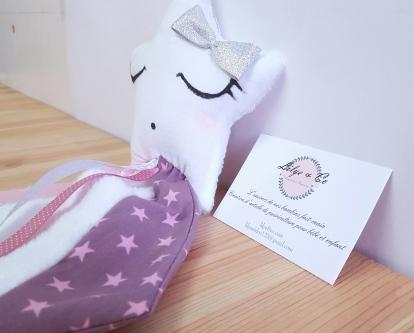 Doudou étoile bébé fille rose et argent