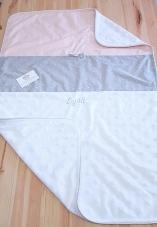 Couverture bébé rose, gris et argent personnalisable - Linge de lit bébé fille