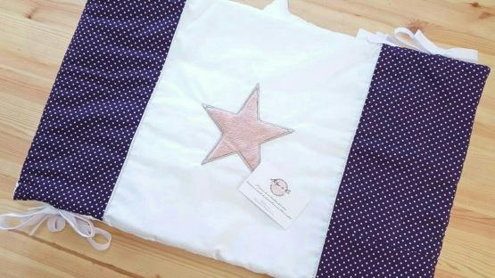 Linge de lit tour de lit bébé fille étoile pois rose violet blanc