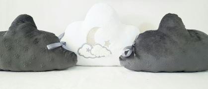 Tour de lit coussin nuage gris et blanc - décoration de chambre bébé