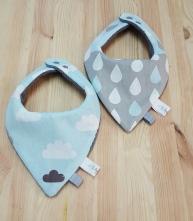 Duo de bavoir bébé garçon nuage gouttes bleu gris
