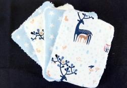 Lingettes lavables cerf étoile bleu corail blanc