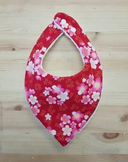 bavoir bandana rouge fleur fille