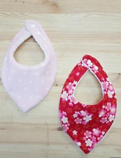 Duo bavoir bandana bébé fille rose rouge étoilé fleur - accessoire mode bébé fille rose rouge