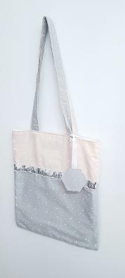 tote bag enfant - sac bibliothèque avec galon paillette argenté