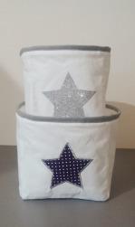 Duo de panière blanche et grise avec étoile