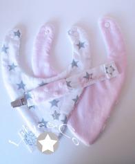 Duo de bavoir bandana bébé rose gris blanc étoile