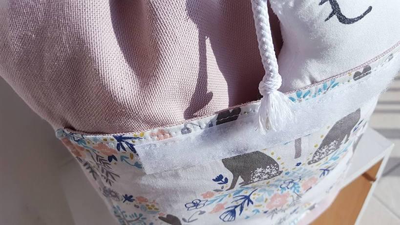Sac à dos maternelle personnalisable - Accessoire enfant rentrée des classes - Sac à dos lapin, prénom, rose et blanc