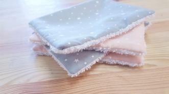 Lot de 4 lingettes lavables rose gris étoile lilye&Co