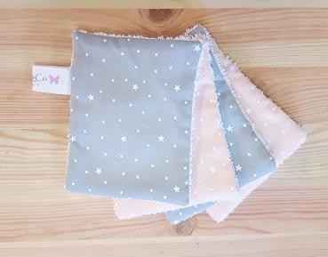 Lingettes lavable bébé fille rose gris étoile - accessoire de toilette bébé