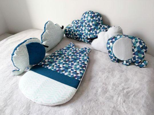 Tour de lit nuage et éléphant, bleu et mint