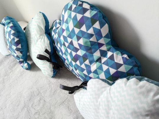 Tour de lit garçon, 60x120 cm ou 70x 140 cm mint et bleu