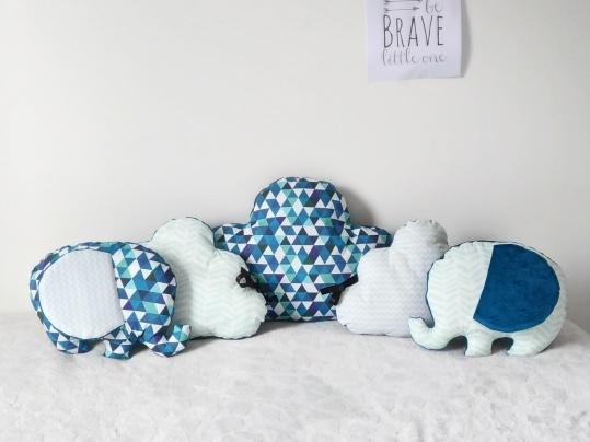 Literie bébé- Tour de lit nuage et éléphant.
