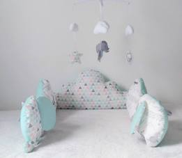 Tour de lit nuage et éléphant bébé mixte