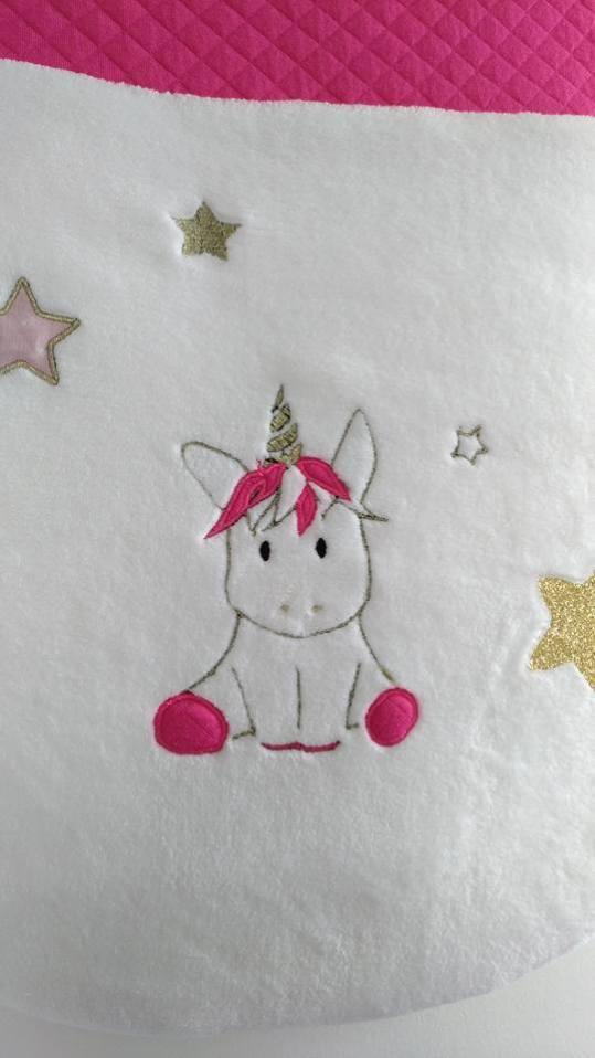 gigoteuse bébé fille licorne or et rose